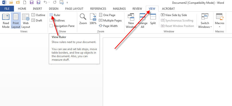 how to show tab ruler in word 2013