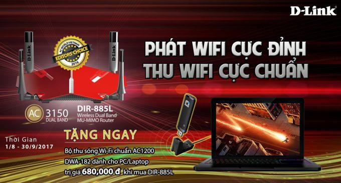 D-Link tặng Wi-Fi Adapter DWA-182 cho khách mua Wi-Fi Router cao tốc DIR-885L
