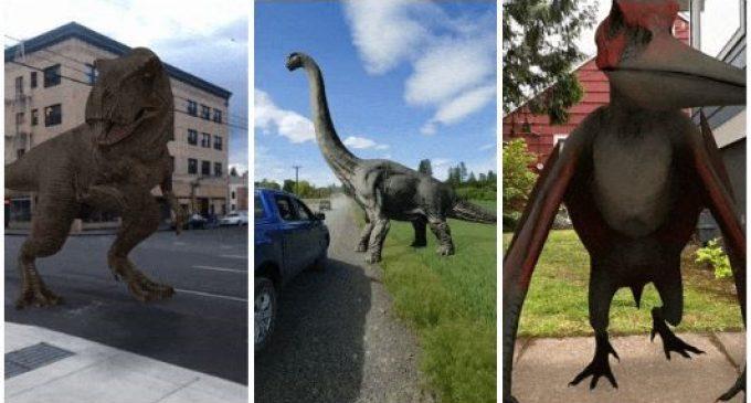 Dùng Google Tìm kiếm nghịch với những con khủng long AR 3D trên màn hình di động