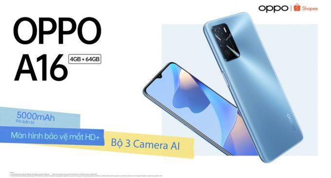 Smartphone OPPO A16 pin 5.000mAh, giá dưới 4 triệu đồng