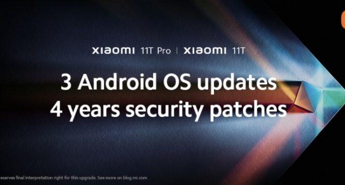 Xiaomi cung cấp 3 thế hệ phiên bản nâng cấp hệ điều hành và 4 năm bản vá bảo mật cho dòng Xiaomi 11T